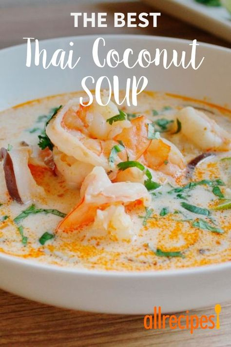 """The Best Thai Coconut Soup """"Authentic, bold, and delicious Thai flavors make this soup irresistible! This is the best Thai coconut soup I've had. You won't be disappointed with this one! Serve over steamed rice."""" - The Best Thai Coconut Soup Coconut Soup Recipes, Thai Coconut Soup, Thai Soup, Thai Red Curry Soup, Thai Shrimp Soup, Chicken Coconut Soup, Thai Noodle Soups, Seafood Stew, Fish Soup"""