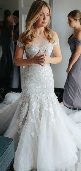 Off Shoulder Mermaid Lace Cheap Wedding Dresses Online Cheap Mermaid Bridal Dresses Wd446 Online Wedding Dress Long Train Wedding Dress Wedding Dress Train