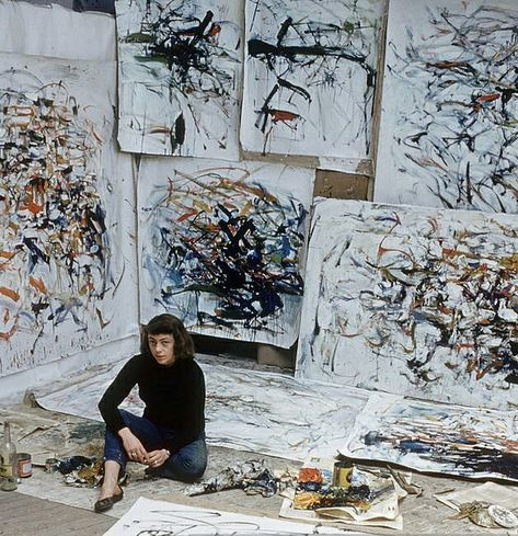 "Joan Mitchell in her studio ""People will never understand what we are doing if they can't feel. All art is abstract. All music is abstract. Joan Mitchell, Abstract Expressionism, Abstract Art, Abstract Painters, Atelier Photo, Modern Art, Contemporary Art, Famous Artists, Music Artists"