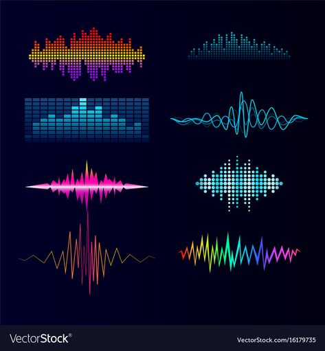 Digital music equalizer audio waves design vector image on VectorStock
