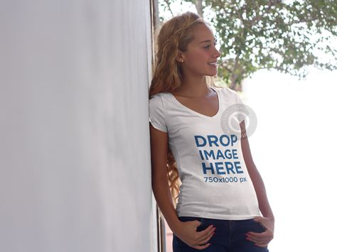 Placeit T Shirt Mockup Of A Young Blonde Woman Leaning Against A Wall Clothing Mockup Shirt Mockup Women