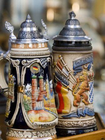 Traditional Beer Mugs, Munich, Bavaria, Germany