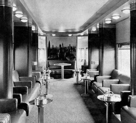 The main lounge and observation end of the 20th Century Limited train,  designed by Henry Dreyfuss, 1938. | Interiors of the 20th Century |  Pinterest ...