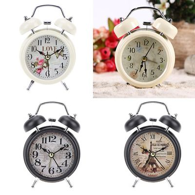 Details About Home Decor Retro Vintage Alarm Clock Ticking Twin