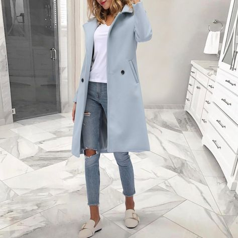 Ecogora Women's Fashion Solid Color Lapel Collar Outerwear Long Coat
