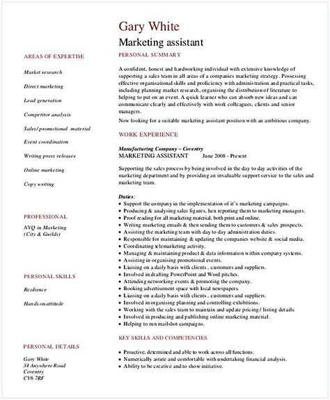 Assistant Marketing Manager Resume  Resume For Manager Position