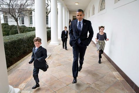 Photo of the Day: President Obama runs along the Colonnade with the children of newly named Chief of Staff Denis McDonough: http://wh.gov/yznb