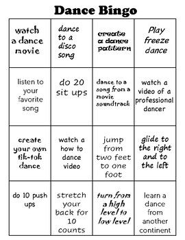 Complete Four In A Row And Compete With Your Friends Or Family Members To See You Can Yell Out Bingo Firs In 2020 Distance Learning Physical Education Activities Dance