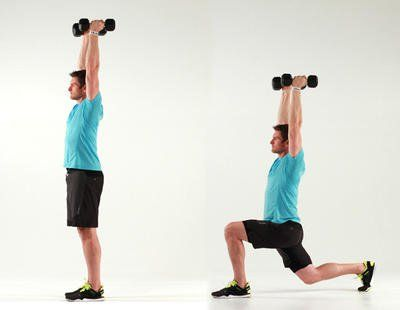 Image result for reverse lunge to overhead press dumbbell