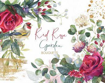 Clipart Mariage Aquarelle Rose Rouge Bouquet Floral Marsala
