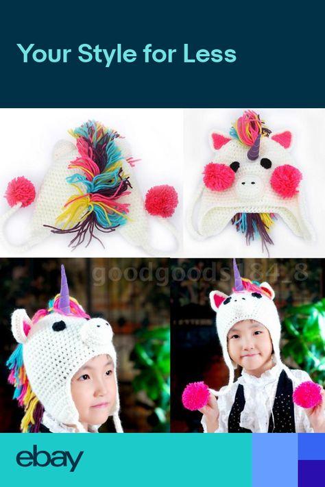 Unicorn Cartoon Hat Baby Kid Boy Girl knitted Crochet Wool Beanie Newsboy K2S9