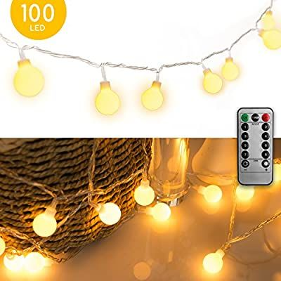 Fairy String Lights Plug in 33FT 100LED Globe Ball String Lights 8 Modes with Remote Multicolored Decor for Indoor Outdoor Party Wedding Christmas Tree Garden