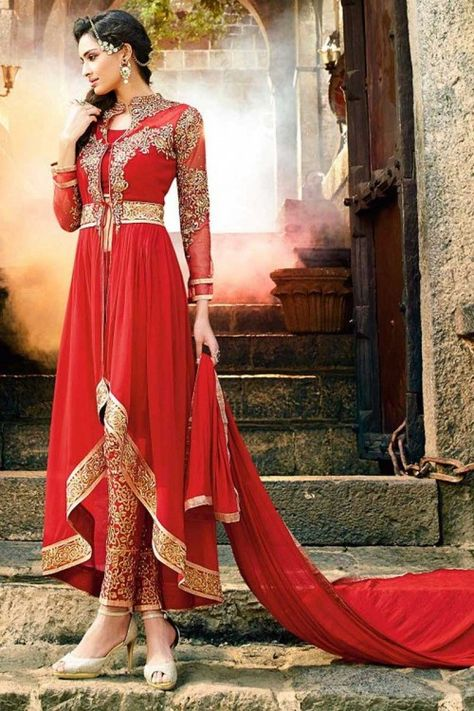 Buy anarkali georgette plus size suits, red resham embroidered punjabi collection now in shop. Andaaz Fashion brings latest designer ethnic wear collection in US