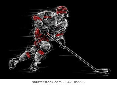 Ice Hockey Player At Rink Sports Illustration Poster On A Black Background Hockey Players Ice Hockey Sport Illustration