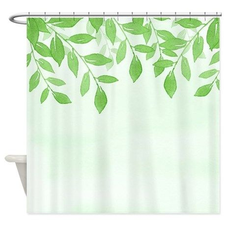 Green Watercolor Leaves Shower Curtain By Printcreekstudioinc Unique Shower Curtain Watercolor Leaves Green Watercolor
