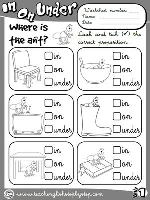 math worksheet : place prepositions  worksheet 1 b w version  funtastic english  : Kindergarten Preposition Worksheets