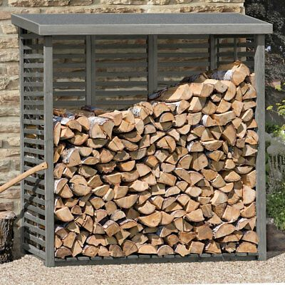 Kaminholzregal Mit Ruckwand Zur Lagerung Fur Ca 2 M Holz Grau