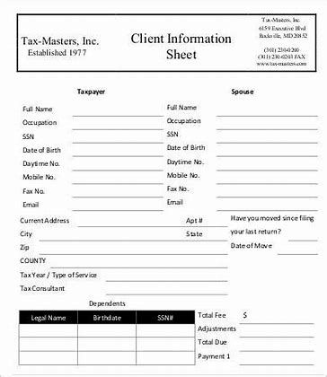 Image Result For Tax Client Interview Form Card Template Excel Templates Templates