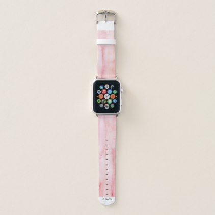 Monogram Modern Pink Watercolor Pattern Apple Watch Band
