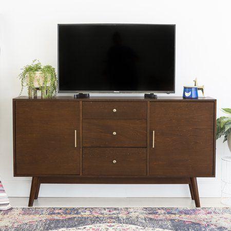 Larsen 60 2 Door Walnut Tv Console By Bellamy Studios Walmart Com Tv Stand Wood Wood Tv Console Mid Century Modern Tv Stand