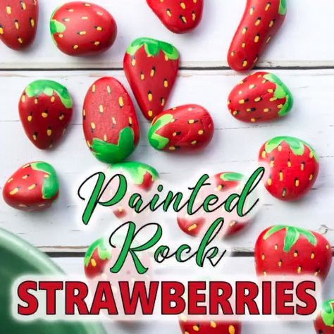 These strawberries look good enough to eat! Turn some pretty pebbles into sweet strawberry painted rocks following these simple step by step instructions. #strawberry #adultcrafts #kidscrafts #paintedrocks #rockpainting #gardencrafts #garden #summercrafts #gardendecor #outdoordecor #MakeUpProductsFenty  #MakeUpProductsHudaBeauty  #MakeUpProductsBackground