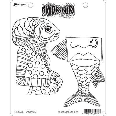 Ranger Ink Fish Face Dylusions Stamps In 2020 Dylusions Rubber Stamps Design Ranger Ink