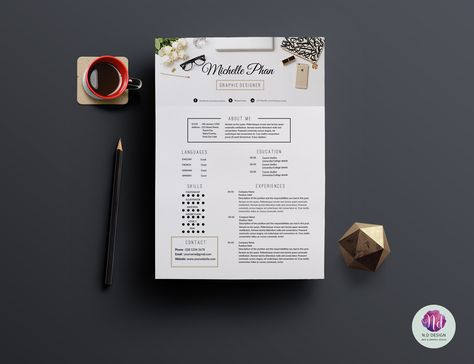 Modern 2 page resume template by Chic templates on Creative Market - 2 page resume