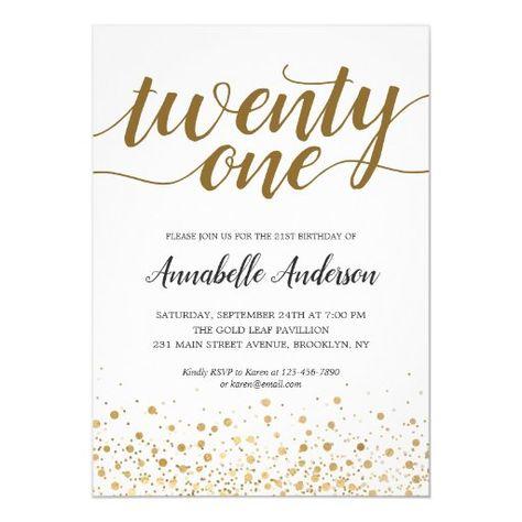 21st Birthday Modern Gold Confetti Dots Script Invitation Zazzle Com Script Invitation Confetti Dots 21st Birthday Invitations
