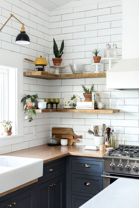 styled open shelving in the kitchen of this Vintage Eclectic Barn | room of the week coco kelley