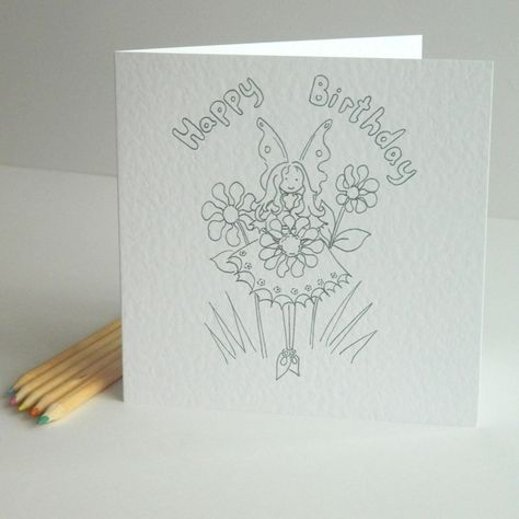 Birthday Card Colour Your Own Fairy My Fairies In Daisywings On