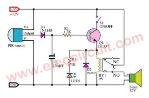 Motion Detector Alarm Circuit With Pir Sensor Simple And Cheap Motion Detector Electrical Circuit Diagram Circuit Projects