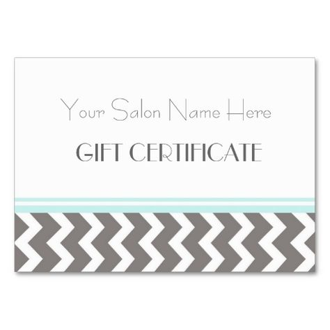 Salon Gift Certificate Aqua Grey Chevron Business Card Make your - business gift certificate template free