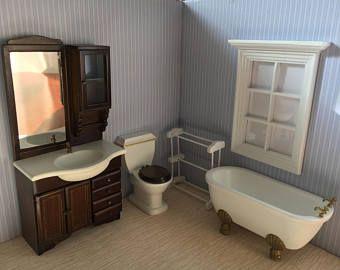 1//12 Dollhouse Miniature Bathroom Set Furniture Toilet Paper Bathtub Basin