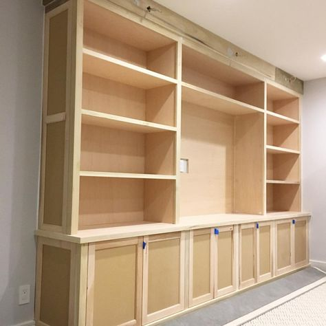 Wrapped up the install for this #walthamstcabinet job. • Custom built flush inset cabinetry, shelving and television space. Design…