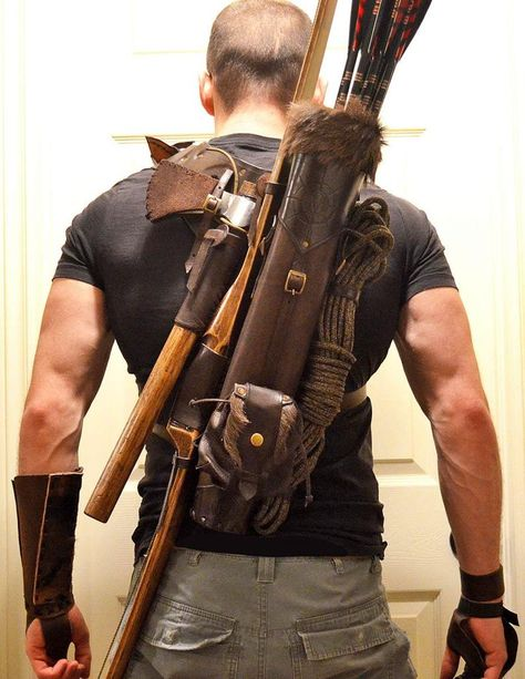 Multifunctional Tooled Leather Quiver, Holding A Bow, An Axe, A Knife And A Rope Or Blanket, With A Detachable Pouch Leather Quiver, Leather Holster, Leather Tooling, Tooled Leather, Custom Leather, Handmade Leather, Leather Kits, Handmade Books, Handmade Notebook