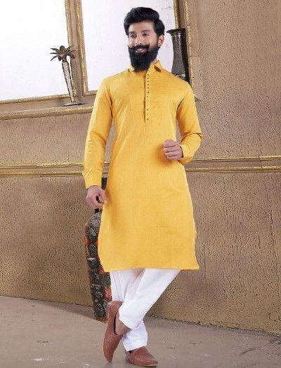 Men/'s Pathani Kurta Pajama Ethnic Traditional Suit Cotton Fabric Solid Lemon