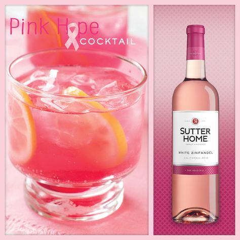 Add a splash of pink to your next cocktail in honor of National Breast Cancer Awareness Month.  3 oz Sutter Home White Zinfandel 3 oz lemon-lime soda .5 oz cranberry juice Maraschino cherry Slice of lemon  Fill a glass about halfway with ice, and combine White Zinfandel and lemon-lime soda in equal parts. Add cranberry juice to taste. Top with maraschino cherry and lemon slice.