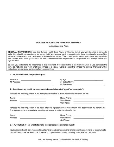 authorization letter sample building permit Home Design Idea - durable power of attorney form
