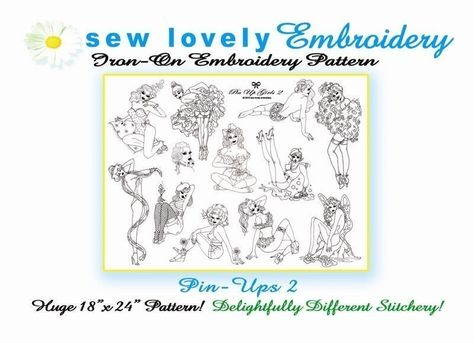 Pin-ups 2 Iron on Hand Embroidery Pattern (original design). $8.00, via Etsy.