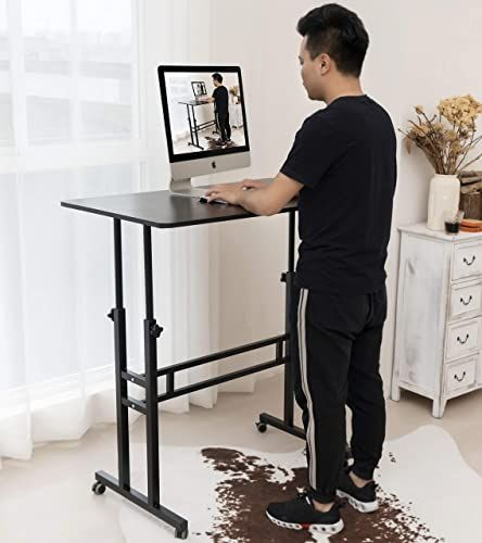 New Akway Computer Desk Standing Desk Wheels 39 4 X 23 6 Inches Height Adjustable Desk Sit Stand Desk Rolling Cart Black Online Shopping Wouldtopshopping In 2020 Adjustable Height Desk Adjustable Desk Black Home Office Furniture