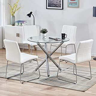 Sicotas 5 Piece Round Dining Table Set Modern Kitchen Table And