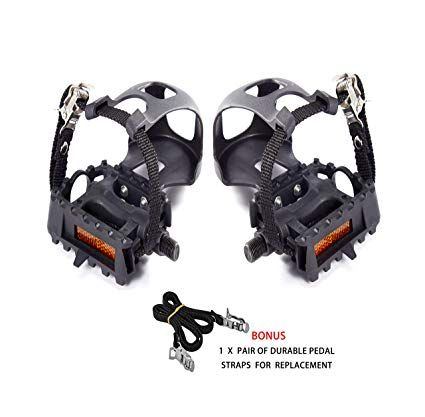 Abrafit 9 16 Inch Premium Quality Bicycle Pedals With Toe Clips And Straps Comes With One Extra Pair Of Straps For Replacement Rev Bicycle Pedals Pedal Bicycle