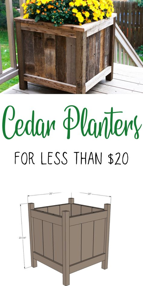 Using cedar fence pickets, you can make these beautiful planters for about $20 each! Our plans include step-by-step diagrams, shopping and cut lists, and dozens of reader submitted photos and success stories. #anawhite #diy #garden #gardenbuilds #planters #woodworking Cool Woodworking Projects, Diy Wood Projects, Diy Projects To Try, Diy Woodworking, Woodworking Templates, Project Ideas, Handmade Furniture, Diy Furniture, Automotive Furniture
