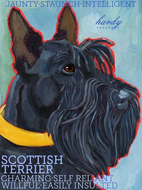 Scottish Terrier No. 1  Art Print 8.5x11 by ursuladodge on Etsy, $25.00