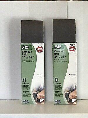 2 Shop Smith P80 Ceramic Belts 3 X 24 Sanding Belts Extreme Removal Shopsmith Sanding Resin Bond