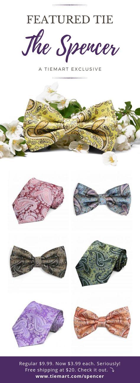 TieMart English Lavender Anna Floral Stripe Band Collar Bow Tie