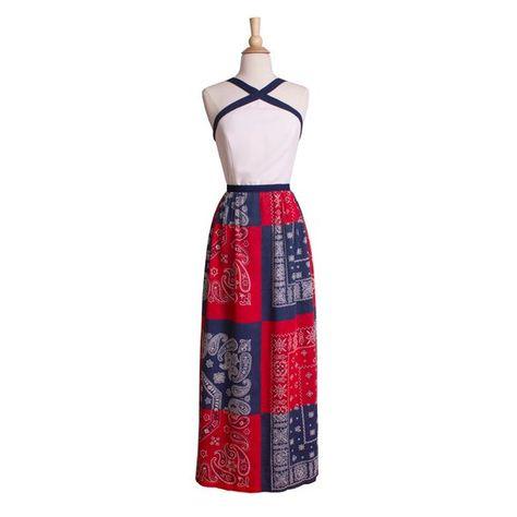 23d15b2eb2b9 1960s-1970s Vintage Red White and Blue Maxi Dress, 60s 70s Halter  Handkerchief Summer Festival Dress