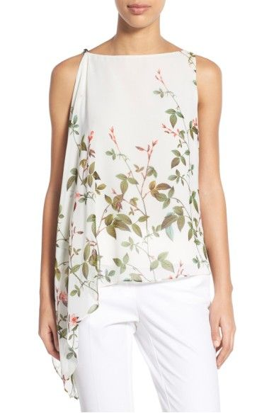 Adrianna Papell Womens Sleeveless Printed Blouse