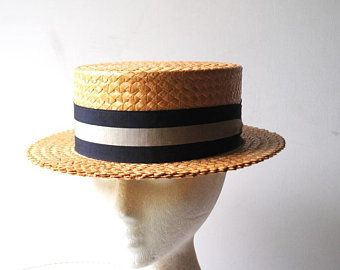 Black And Gold Hat Etsy Gold Hats Straw Boater Boater Hat