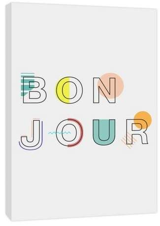 11 X 14 Bon Jour Decorative Wall Art Ptm Images In 2020 Graphic Design Logo Lettering Kids Art Studio
